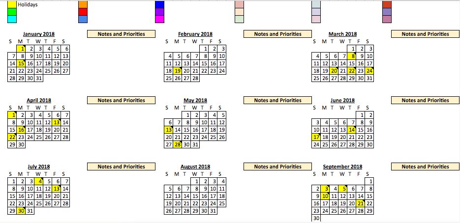 Dora's 2018 campaign planning spreadsheet.