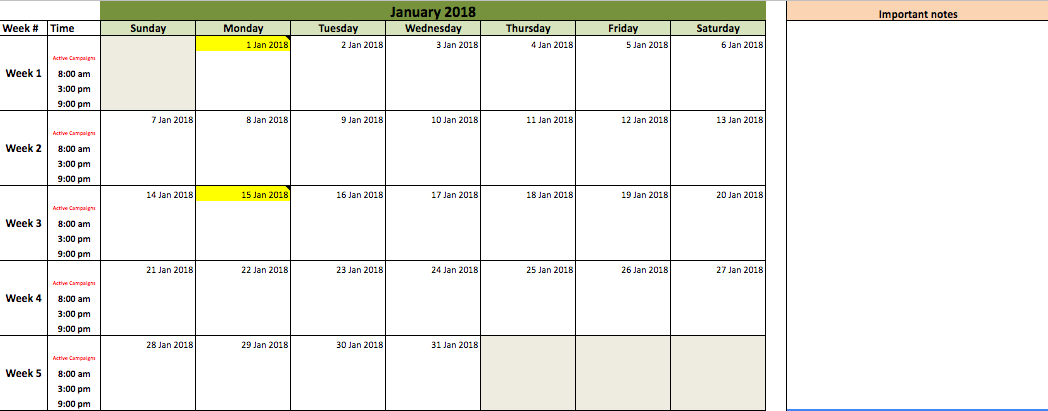Monthly Content Calendar : Free annual marketing campaign planning template