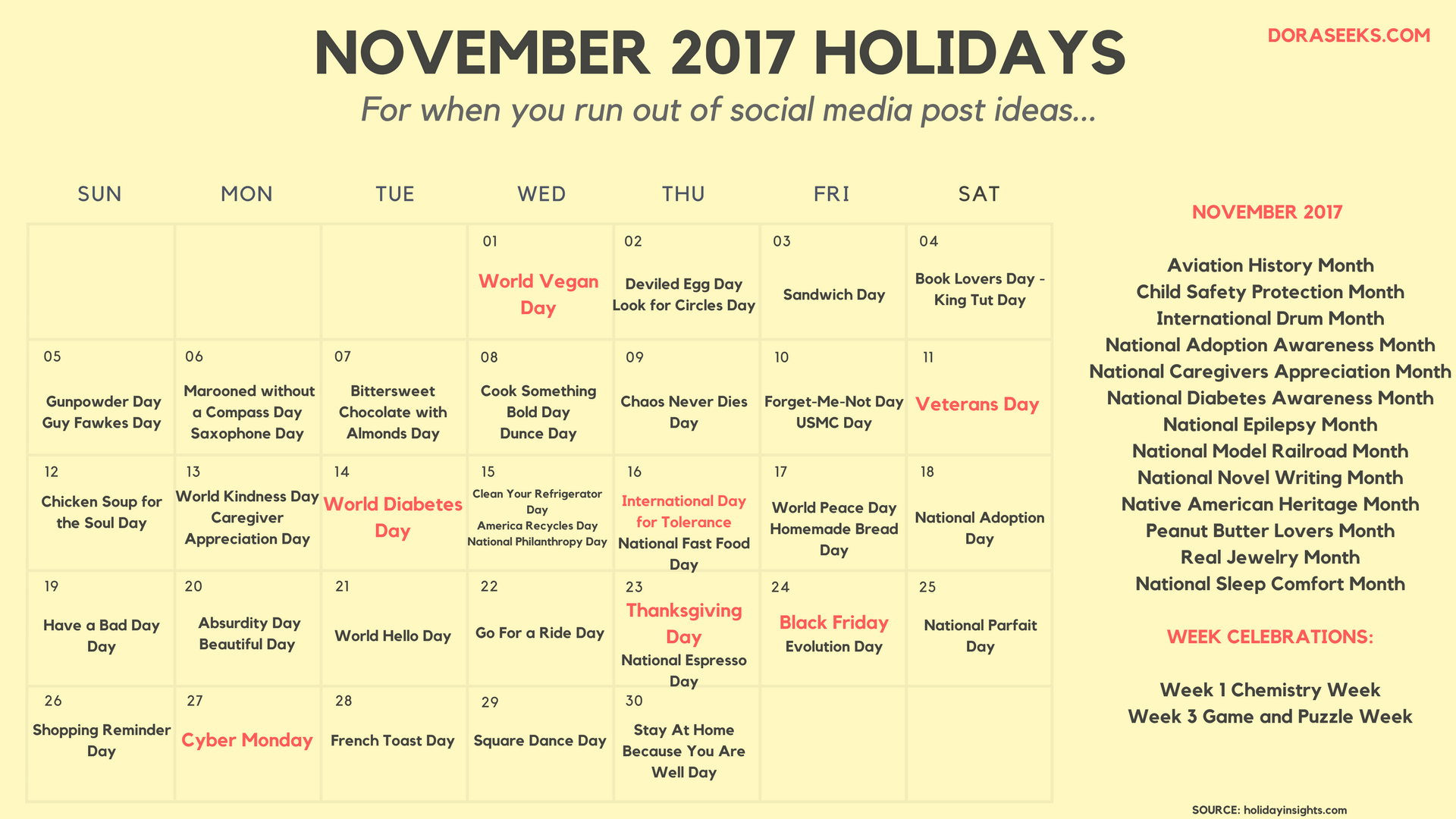November 2017 Calendar With Holidays