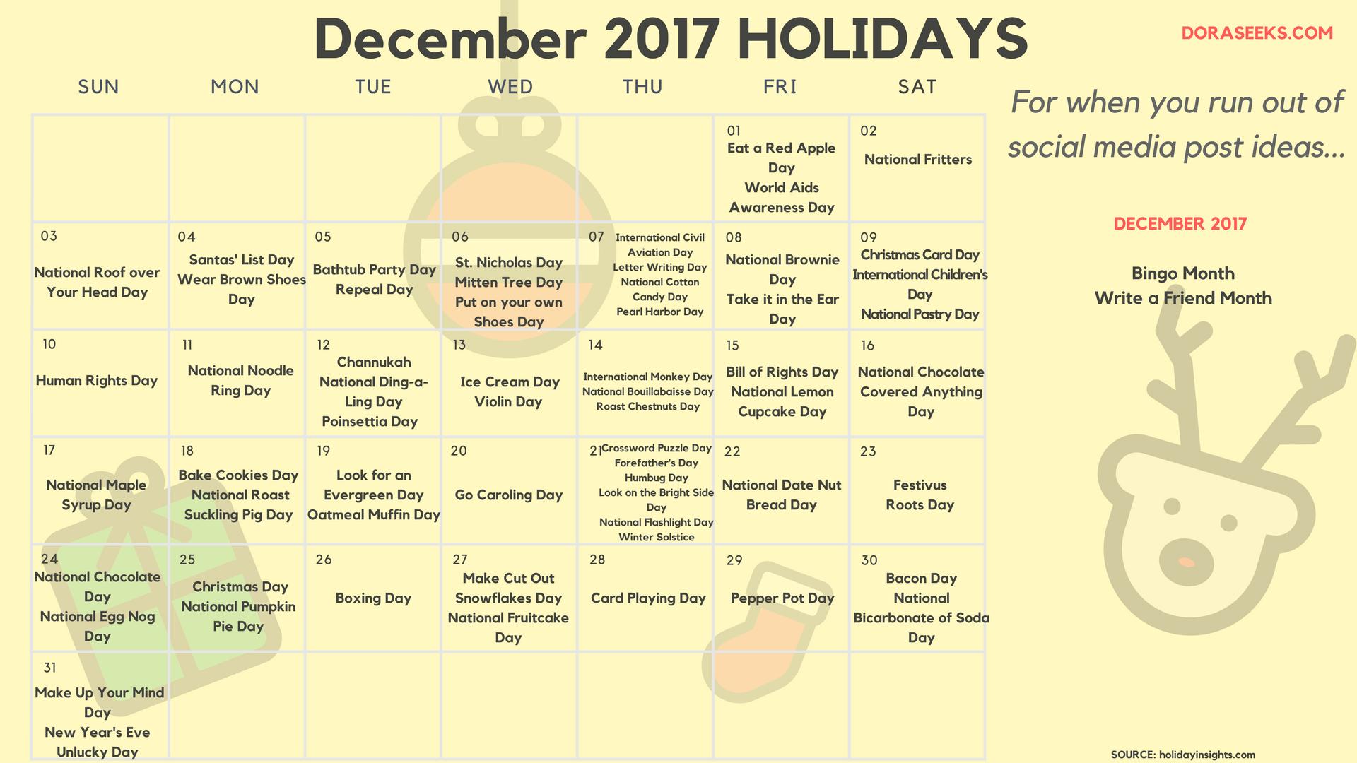 December 2017 Holiday Post Ideas Calendar (Source: holidayinsights.com)